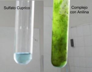 las aminas forman frente al cobre (II) complejos con colores verde-azulados