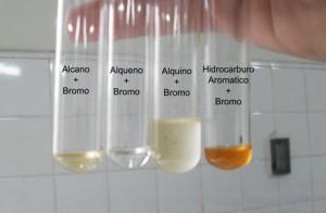 La luz favorece la reacción con el bromo por parte de los alcanos. Los hidrocarburos aromáticos tampoco reaccionan en este caso.