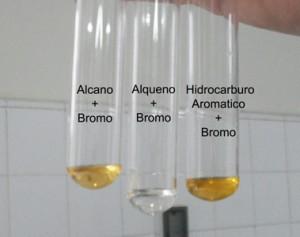 El bromo resulta decolorado solamente por los alquenos y los alquinos