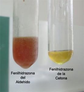 Pueden observarse las soluciones coloreadas de las Fenilhidrazonas del formaldehído (metanal) y la acetona  (propanona)