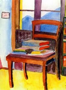 silla y libros